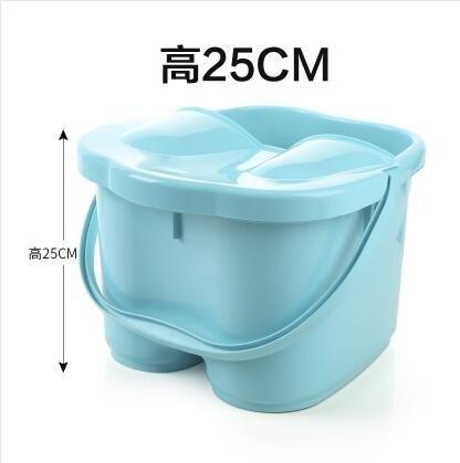 中號藍色有蓋加高加厚足浴桶按摩保溫泡腳桶足浴盆塑料手提洗腳桶洗腳盆