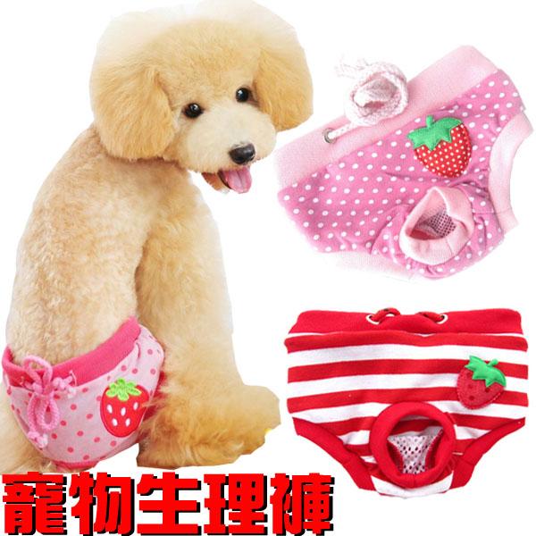 寵物生理褲中小型犬內褲月經褲棉質綁帶內褲可愛草莓點點條紋米荻創意精品館