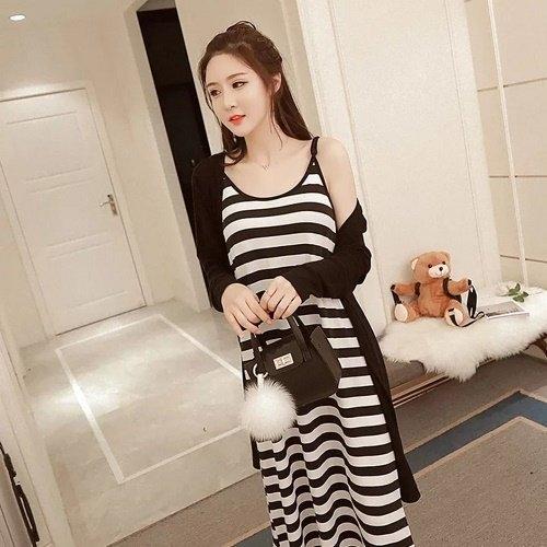 漂亮小媽咪 二件式洋裝 【D1930YS】 條紋細肩帶 孕婦 長裙 開衫 薄外套 孕婦裝