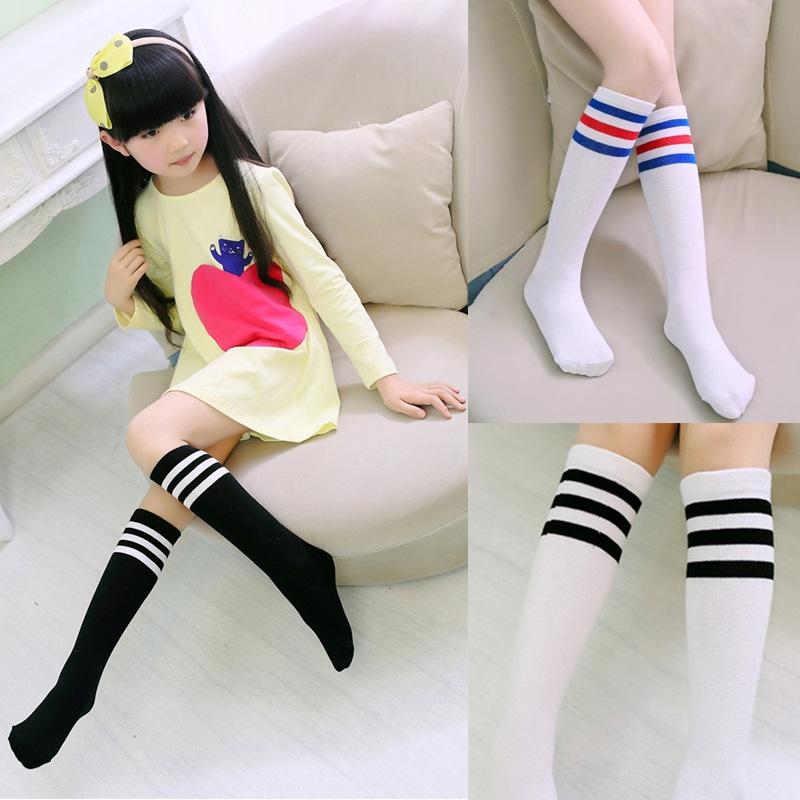 愛寶貝X1240022韓國新款素面黑白條紋兒童無跟襪膝上襪小腿襪1-8歲適穿可挑款
