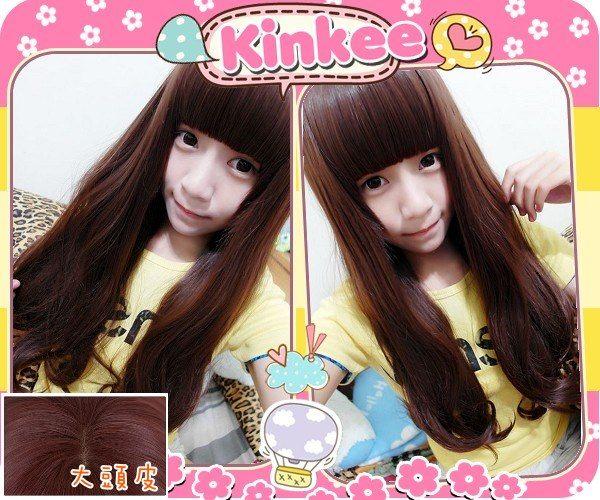 Kinkee假髮韓系高仿真栗髮尤物空氣感自由分線耐熱大捲中長捲髮H0026