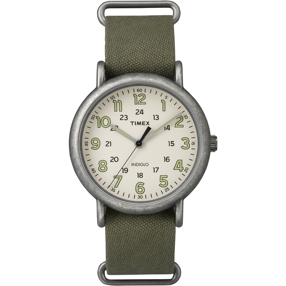 【TIMEX】天美時 Weekender週末系列復古手錶(綠/銀框 TXT2P85900)