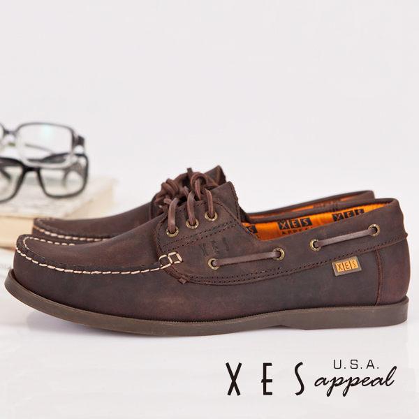 XES女鞋經典帆船鞋英倫經典水波紋底帆船鞋-女粗曠棕