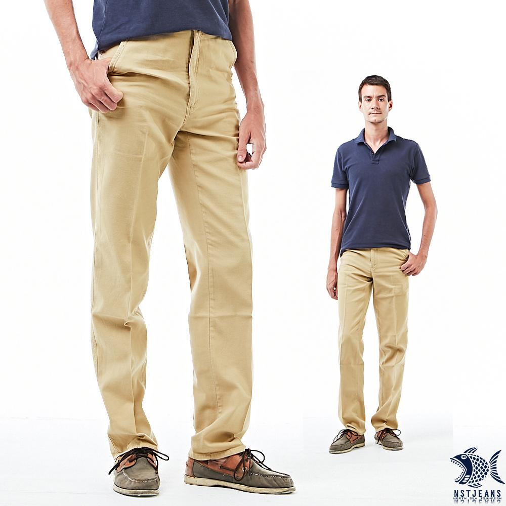 【NST Jeans】淡小麥黃 小白球壓紋 上流感休閒男褲(中腰) 390(5640) outlet款 台製 紳士 男