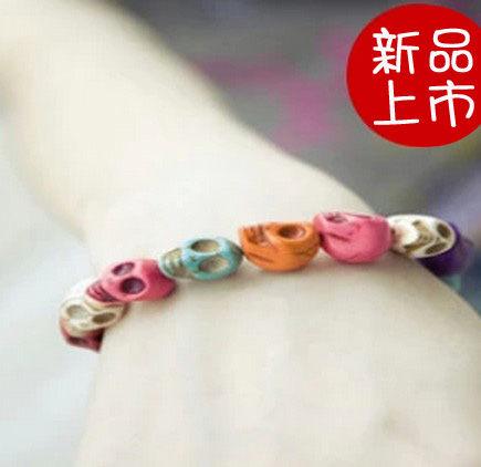 手鏈 彩色骷髏頭彈力手鏈 韓國飾品 潮妞新寵 【B3023】