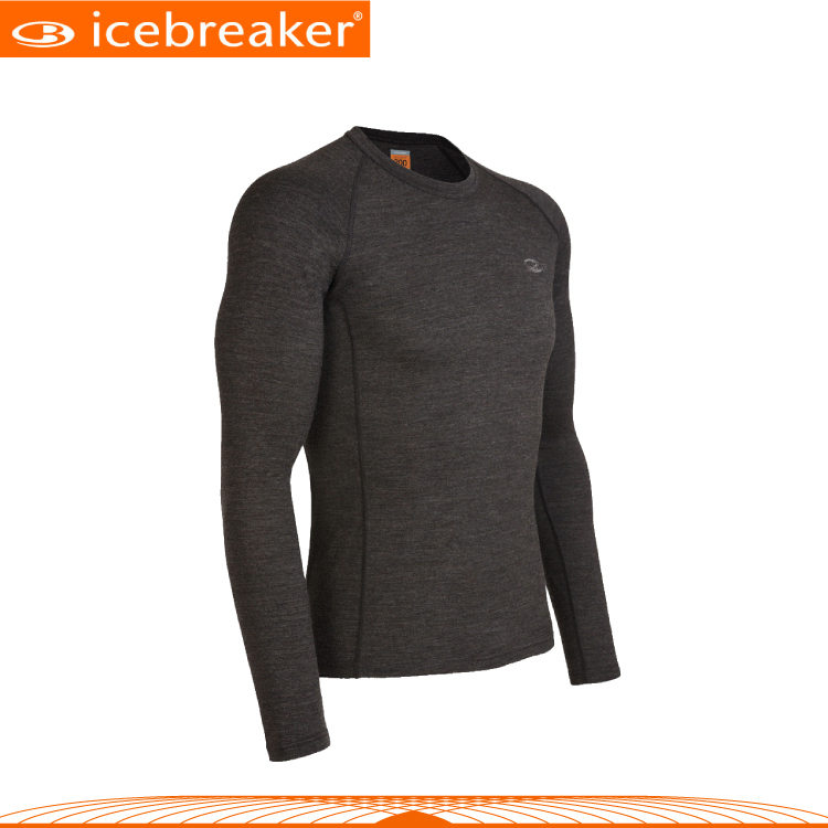 【Icebreaker 男 圓領長袖上衣《淺咖》】IBE158/抗臭/羊毛衣/保暖/中層衣
