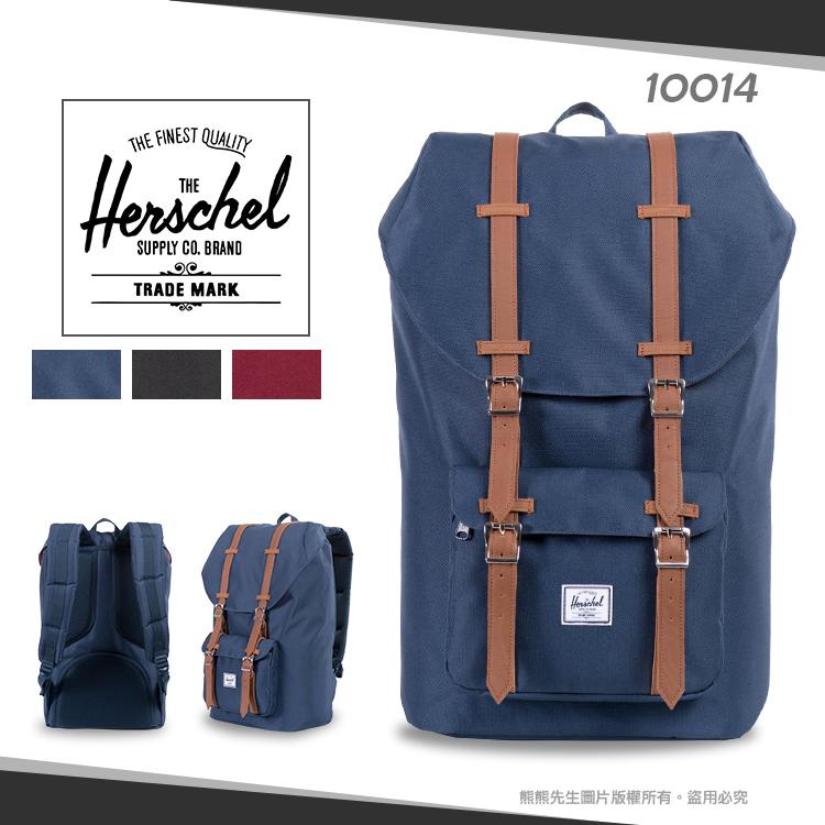 熊熊先生學院風Herschel素色休閒後背包帆布商務雙肩包LITTLE AMERICA學生書包15吋筆電包10014