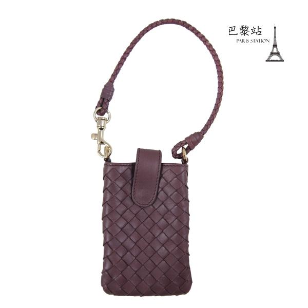 巴黎站二手名牌專賣店現貨Bottega Veneta BV真品編織羊皮釦式手機袋紫芋色