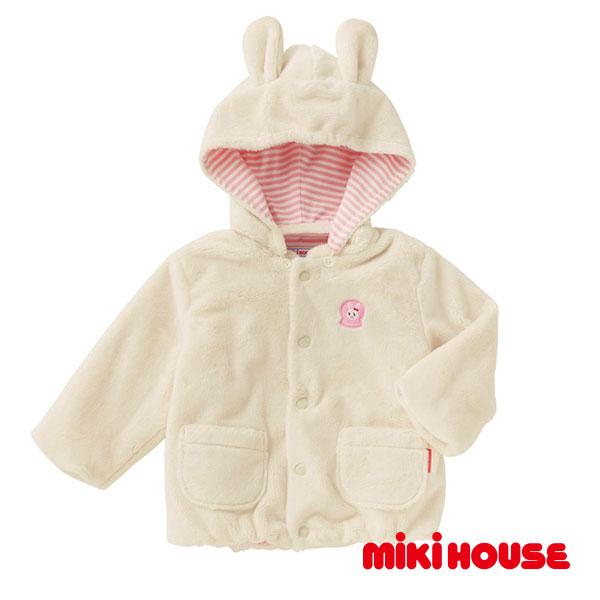 MIKI HOUSE  日本製 兔兔柔軟絨毛外套(象牙)