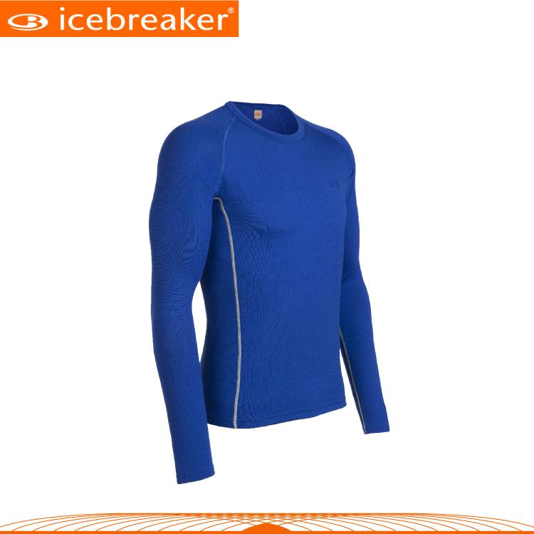 【Icebreaker 男 圓領長袖上衣《藍》】IBE158/抗臭/羊毛衣/保暖/中層衣