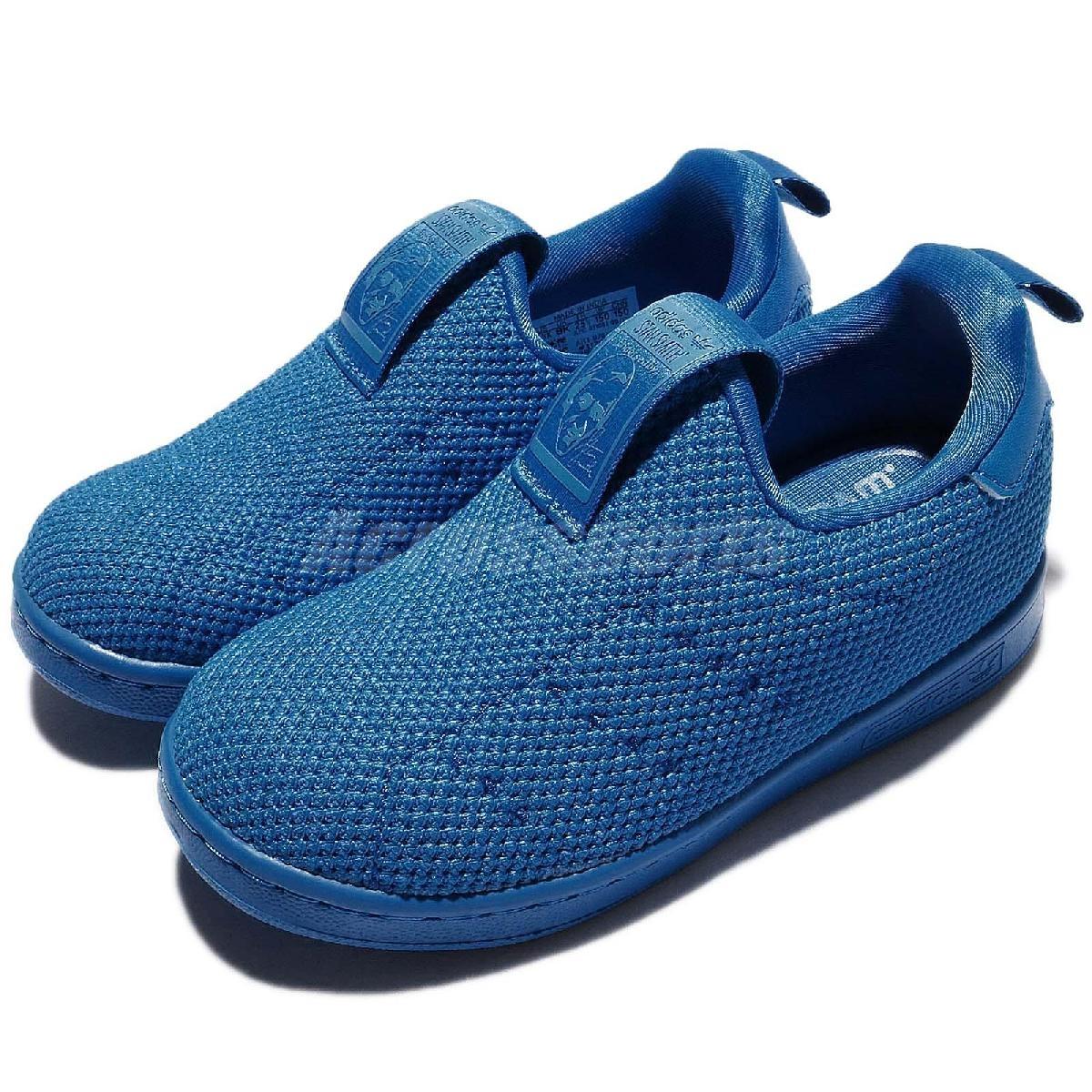 adidas 休閒鞋 Stan Smith 360 SC I 藍 基本款 襪套式 無鞋帶 童鞋 小童鞋【PUMP306】 BZ0551