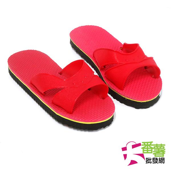 室內拖鞋(紅色黑底)/拖鞋 [ 大番薯批發網 ]