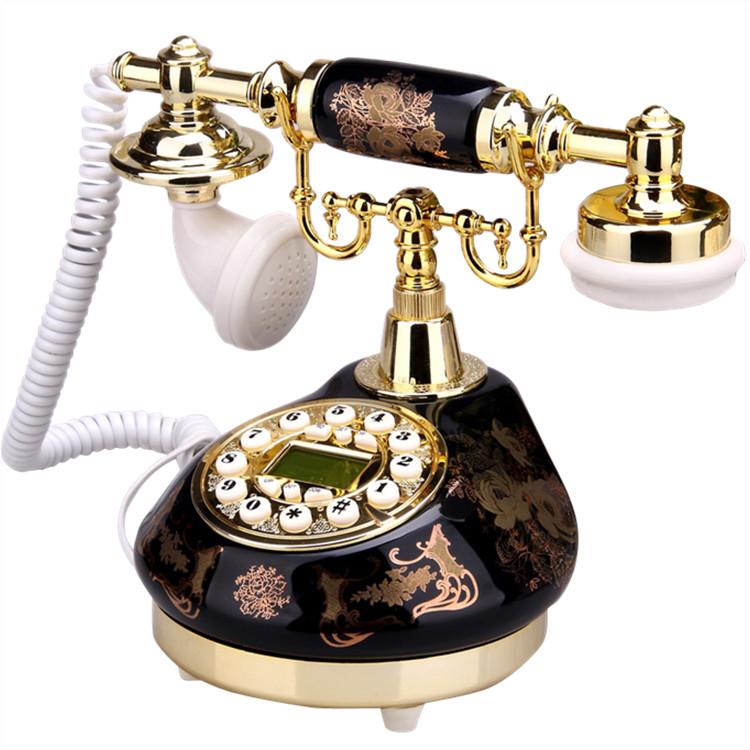 復古工藝-歐式陶瓷復古電話機辦公電話座機時尚田園仿古電話機  預購10天 現貨