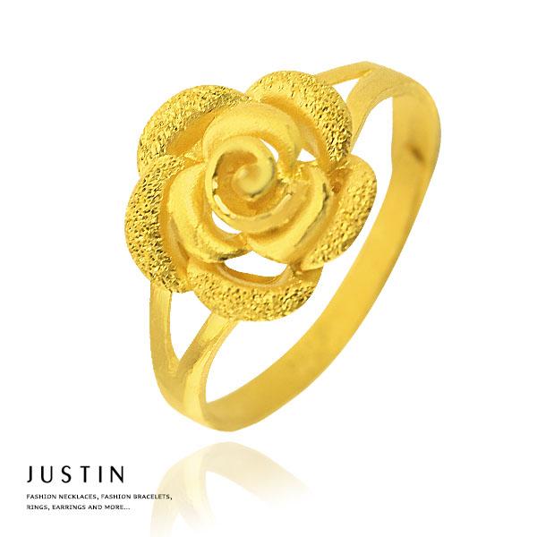 Justin金緻品 黃金女戒 告白玫瑰 金飾 9999純金女戒指 玫瑰花朵 結婚