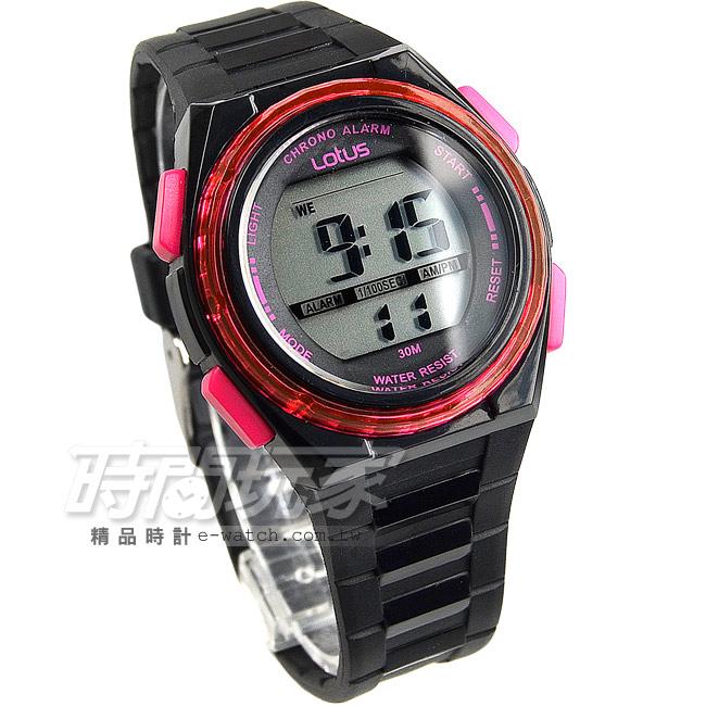 Lotus時尚錶流行電子錶女錶矽膠錶帶日期計時碼表黑桃紅粉紅TP1316L-01A黑桃
