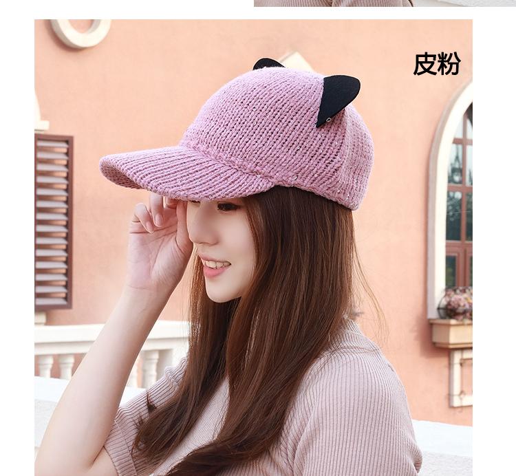 韓國貓耳朵針織毛線帽英倫鴨舌禮帽潮女春秋季冬天可愛賣萌馬術帽