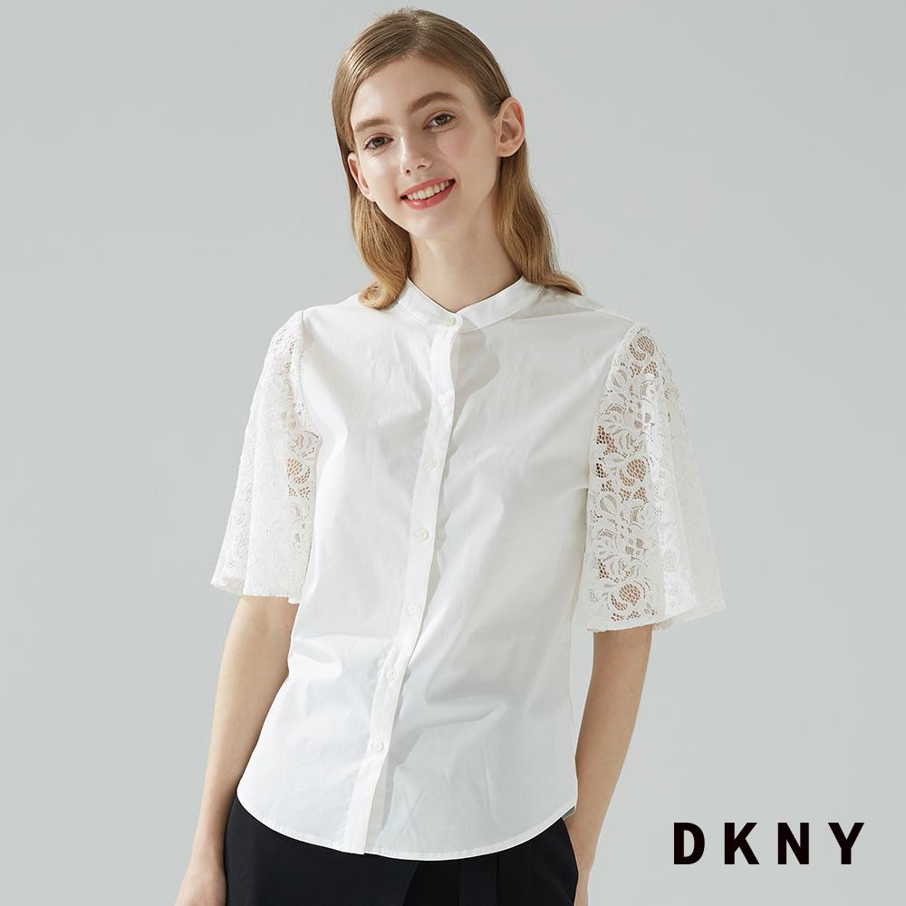 DKNY 女 襯衫 素色  五分袖 白