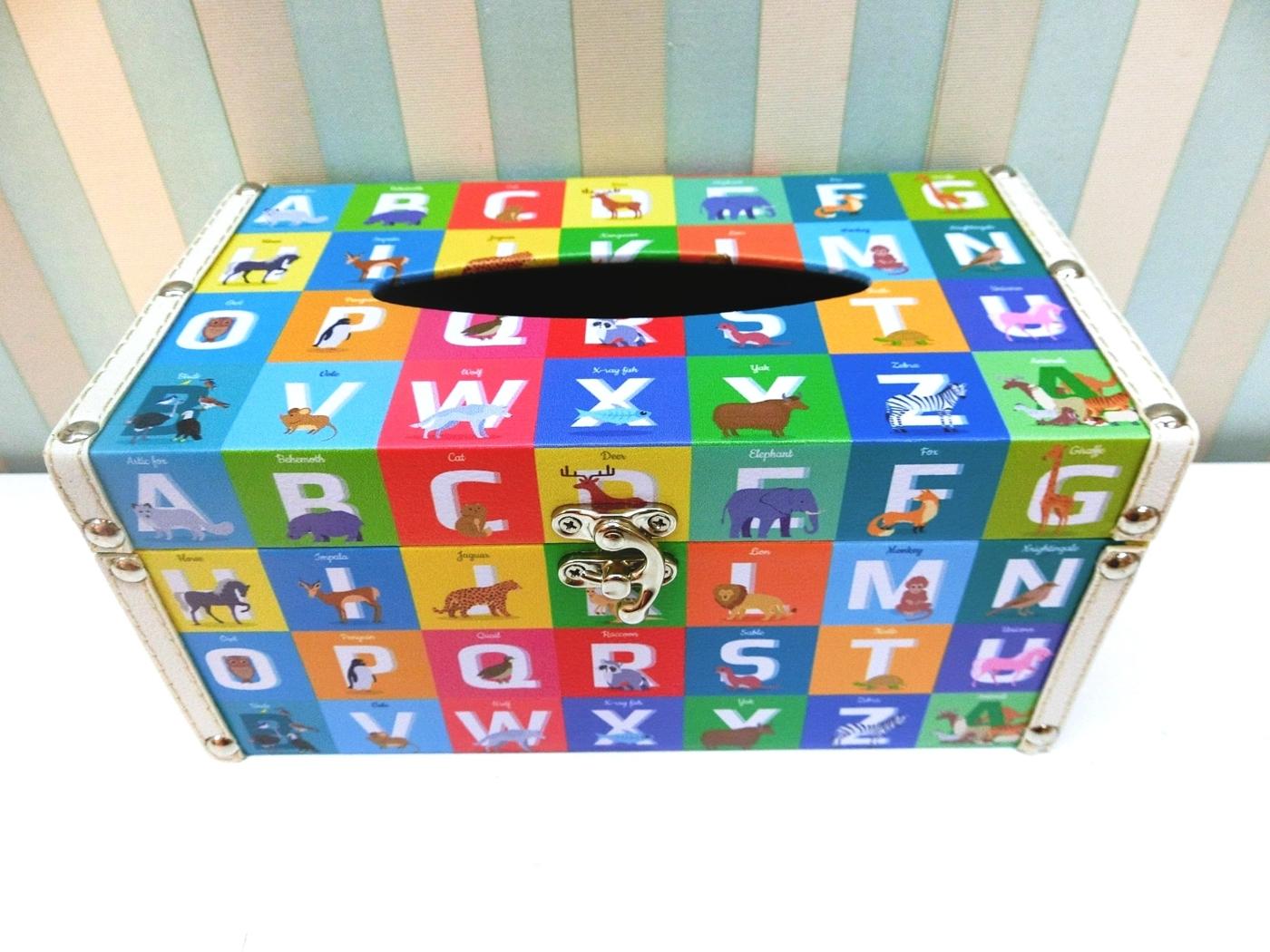 木製長形面紙盒LA53彩色英文字母貼皮面紙盒動物皮革面紙盒木製面紙盒收納絢寓居家