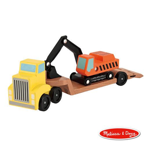 美國瑪莉莎Melissa Doug原木交通工具挖土機拖車