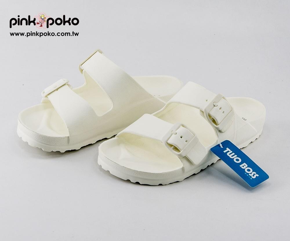 拖鞋PINKPOKO粉紅波可輕量防水雙扣環休閒厚底拖鞋~白色1303