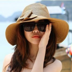 韓國防曬沙灘帽女夏天蝴蝶結草帽遮陽帽大沿草帽戶外騎車太陽帽