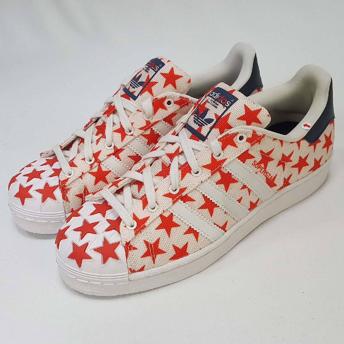 【NG出清】adidas 休閒鞋 Superstar Shell Toe Pack 米白 紅 星星 男鞋小尺寸 左腳內裏輕微發黃【PUMP306】