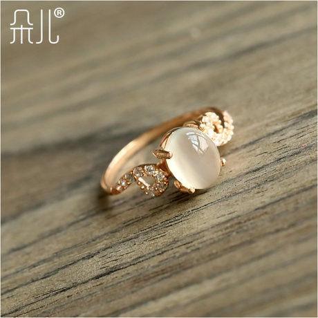 玫瑰金月光石戒指