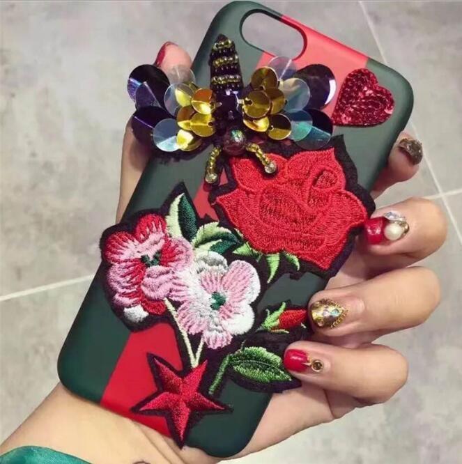 韓版東大門玫瑰雛菊花朵蝴蝶刺繡蘋果手機殼iPhone7 iPhone6 plus i6s i7硬殼