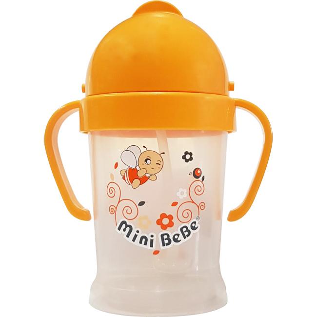 【奇買親子購物網】mini BeBe 小蜜蜂 PP多多吸管杯200ml-(橘/綠)