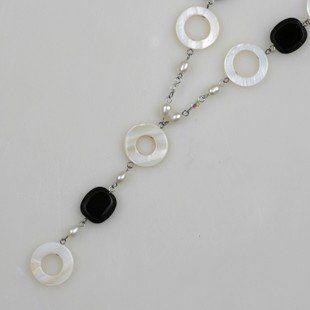 長款毛衣鏈女白色珍珠貝殼手工個性黑白項鏈