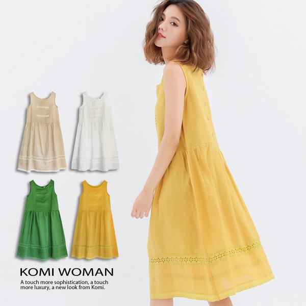 KOMI棉麻布蕾絲背心洋裝有內裡1796-022652
