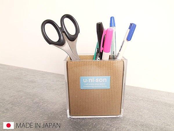 日本製透明收納盒壓克力收納桌面收納筆桶雜物桶雜物筒文具收納SV3149 BO雜貨