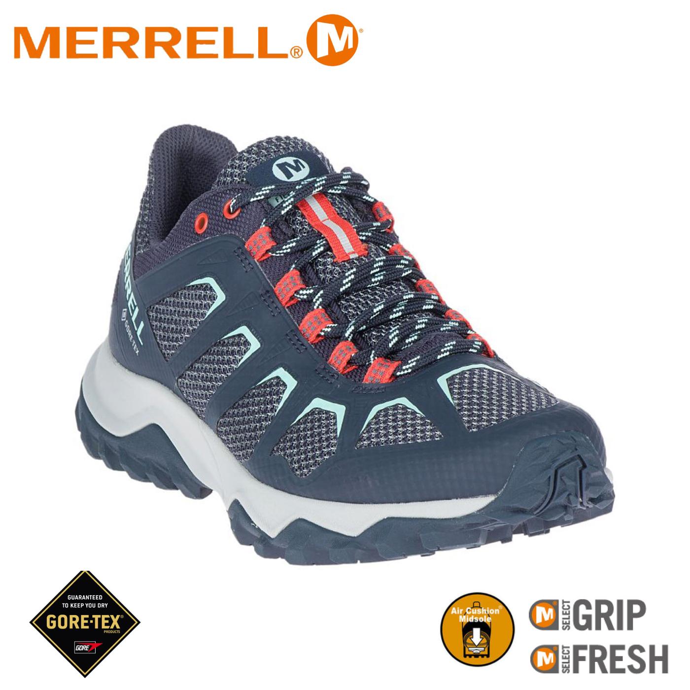 【MERRELL 美國 女 FIERY GORE-TEX機能鞋 《深藍/紅》】ML99684/休閒鞋/健走鞋/多功能鞋