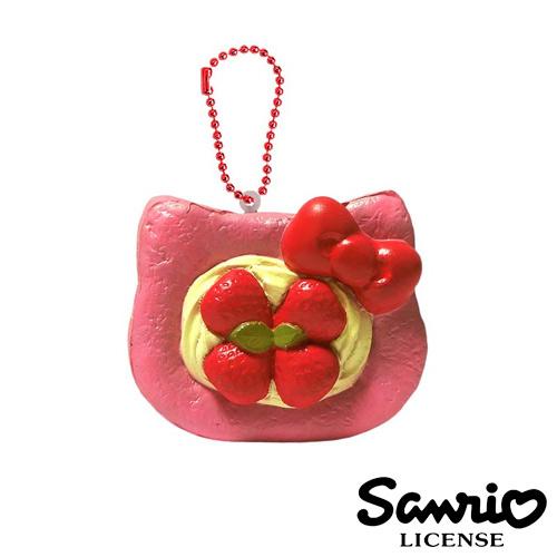 【日本進口正版】凱蒂貓 HelloKitty 草莓款 草莓丹麥 麵包 捏捏吊飾 捏捏樂 美食 軟軟 三麗鷗 - 615176