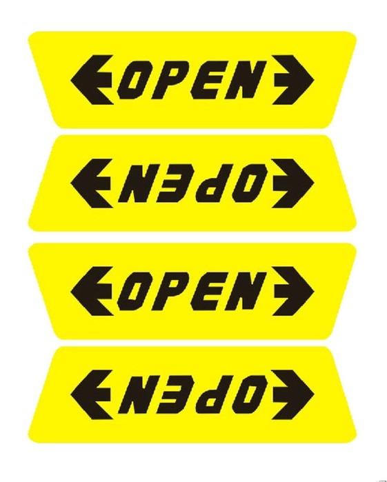 一組4入OPEN貼車門防撞貼開門警示貼車門開啟防撞貼安全警示反光車貼4G手機