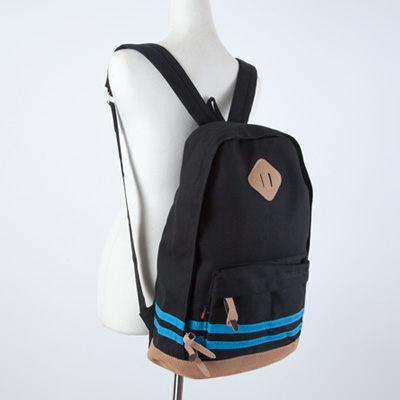 SINGLE單眼皮女孩休閒素雅雙橫條混搭設計內大暗袋可放A4帆布後背包