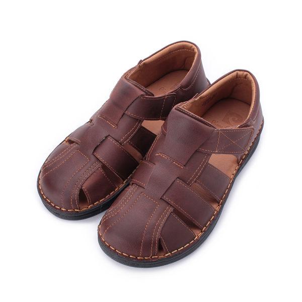 皮爾卡登 真皮前後包涼鞋 咖 男鞋 鞋全家福
