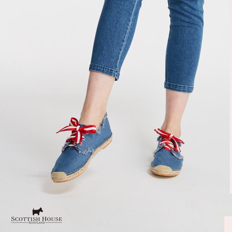 刺繡草編鞋 Scottish House【AG4607】