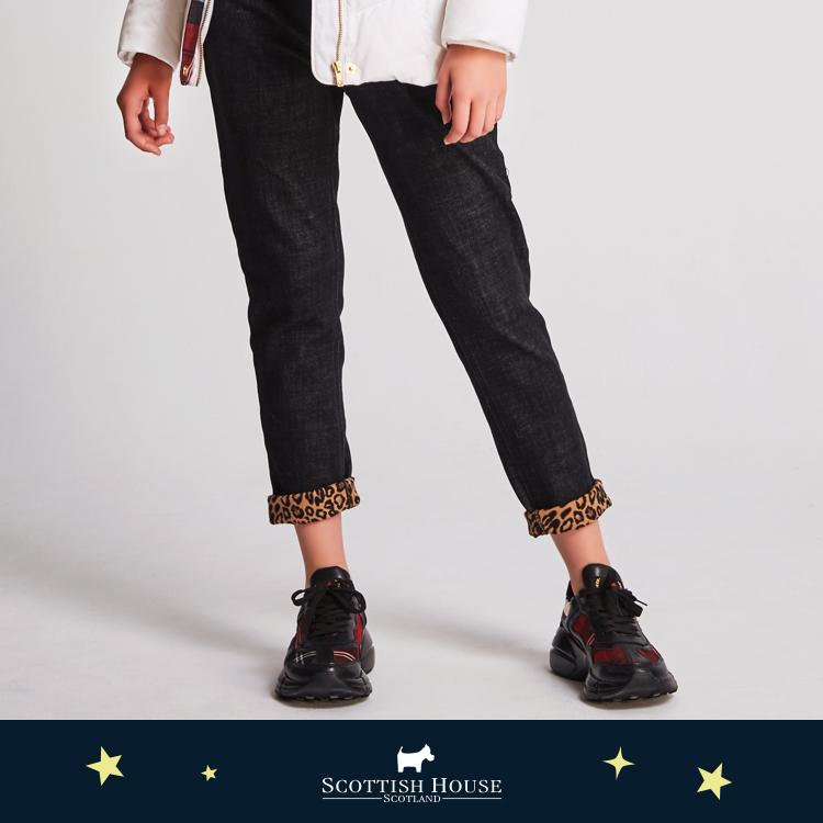 牛仔豹紋內刷毛緊身褲 Scottish House【AJ2310】