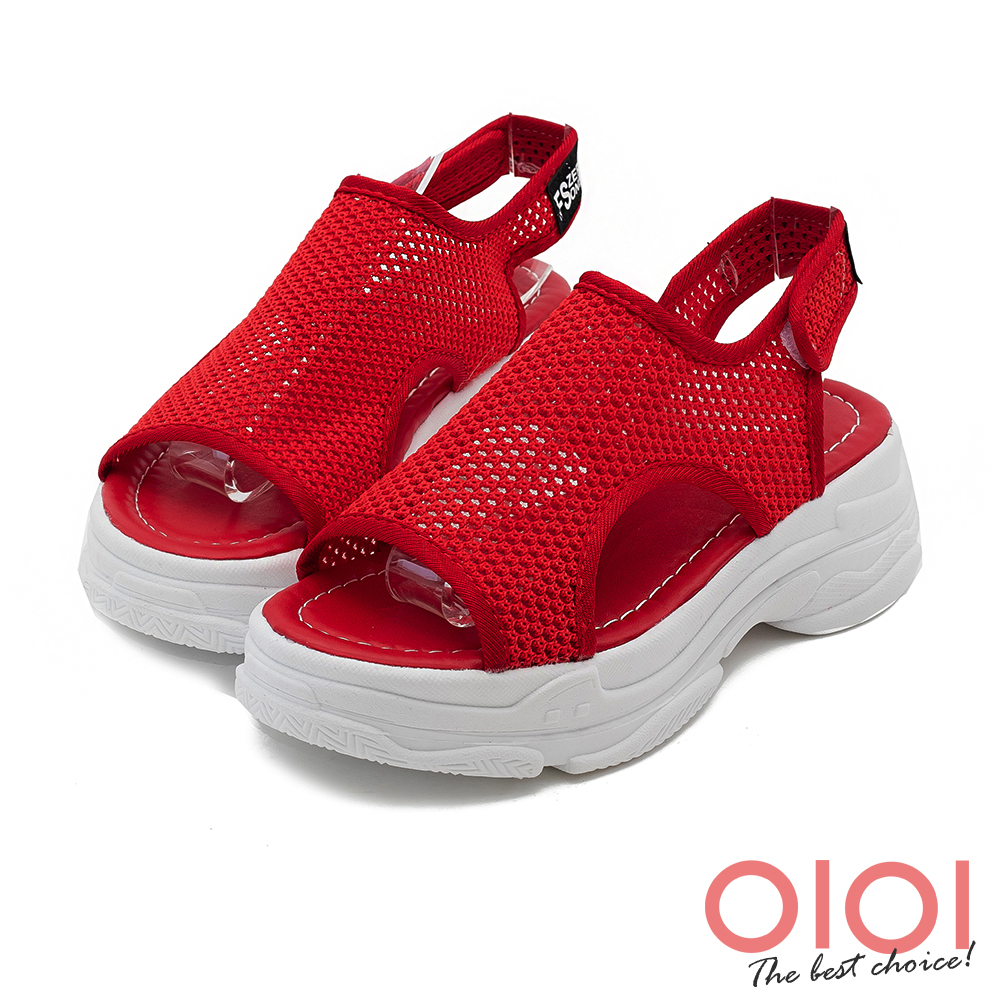 運動涼鞋 街頭時尚透氣網面厚底運動涼鞋(紅)*0101shoes【18-338r】【現+預】