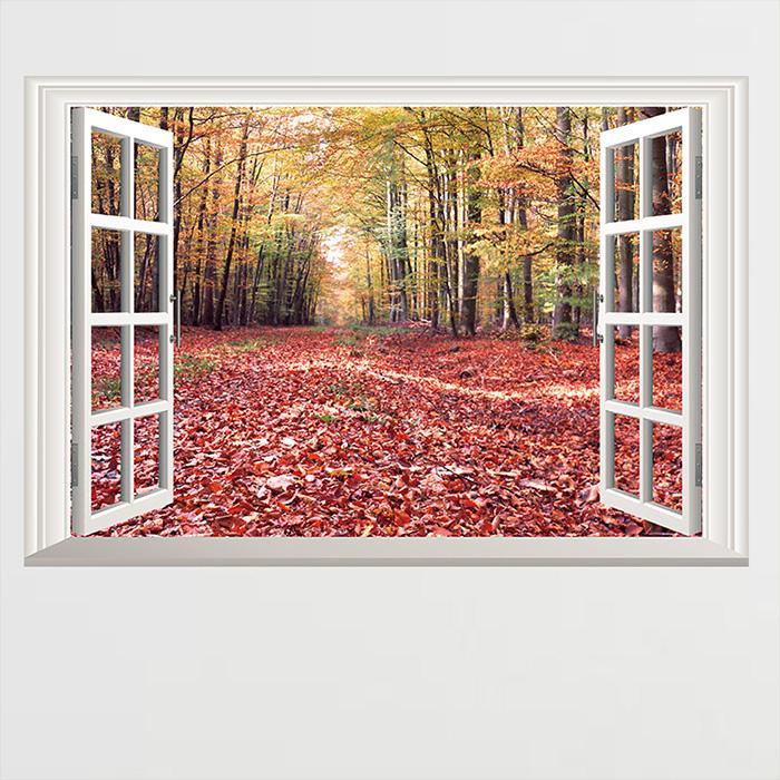 DIY組合壁貼無痕壁貼客廳臥室店面假窗壁貼秋天落葉楓葉森林窗景壁貼假窗紅樹林生活美學