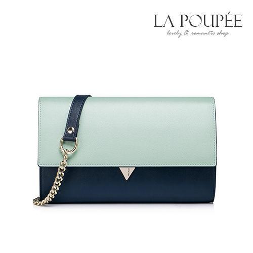 側背包歐風簡約撞色真皮鍊條小方包手拿包4色-La Poupee樂芙比質感包飾現貨預購