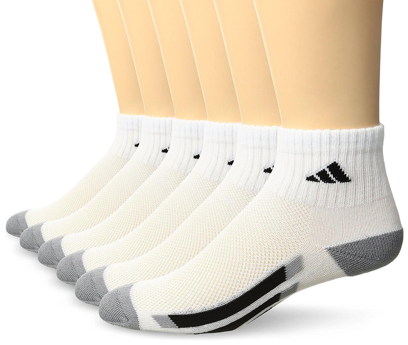 Adidas-  愛迪達學童6雙組1/4高襪子(白色)