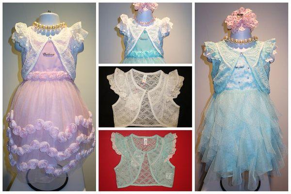 童裝大亨韓版專區511141鏤空蕾絲短袖外套顏色:藍白共2色