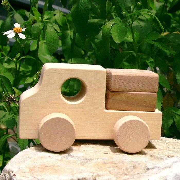 【木樂館】原木小貨車│阿拉斯加扁柏黃檜│天然無毒嬰幼兒兒童益智安全玩具車