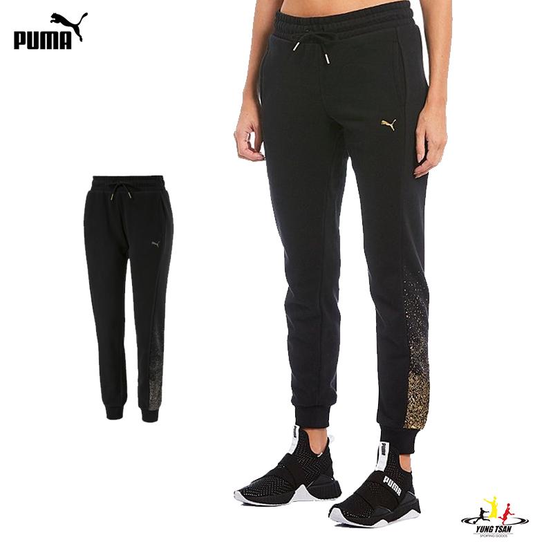 Puma Holiday 女 黑 運動長褲 棉褲 運動 健身 休閒 彈性 長褲 內刷毛 縮口褲 58185501