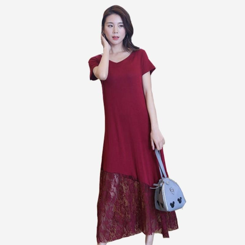 夏季百搭輕柔棉拼接蕾絲下擺長洋裝 (黑  酒紅  藏青 ) 11950079