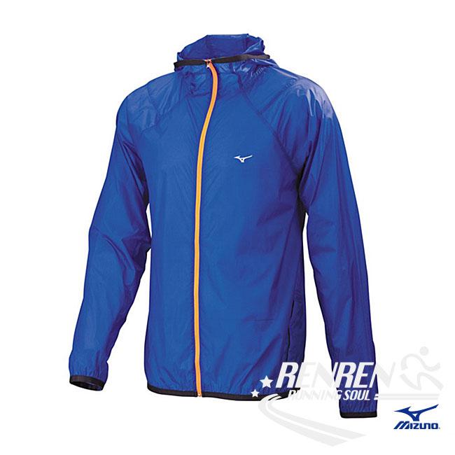美津濃MIZUNO男外套藍輕量防風防潑水路跑風衣胖媛的店