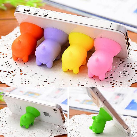 新款時尚可愛小豬吸盤支架/迷你矽膠通用型手機支架9元【省錢博士】