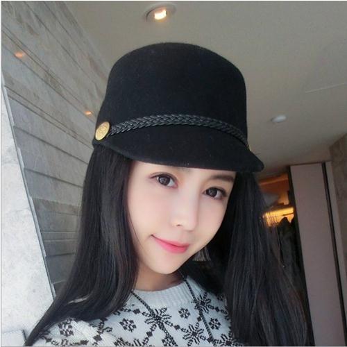 Ministyle帽子秋冬氣質仿羊毛呢休閒百搭情侶編織棒球帽馬術帽復古歐美閨蜜造型韓